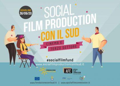 """Bando""""Social Film Production Con il Sud"""", scade il 30 settembre 2020"""