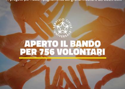 SCU: bando per volontari da impiegare in progetti per l'accompagnamento dei grandi invalidi e dei ciechi civili. Scadenza 30.07.21