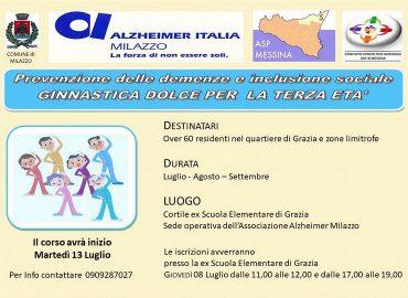 """Alzheimer Milazzo organizza il corso """"Ginnastica dolce per la terza età"""""""